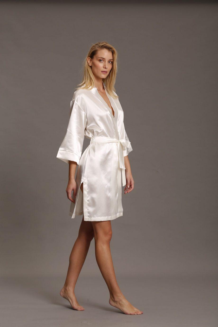 Completo sposa - kimono e sottoveste in raso