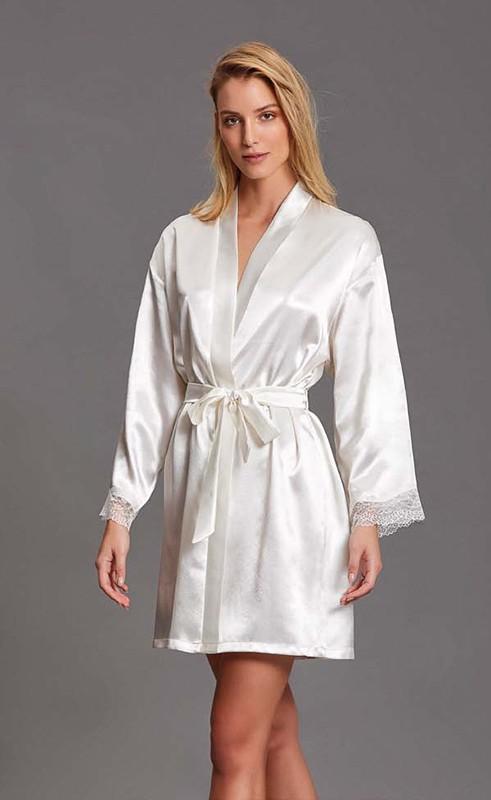 Kimono in raso e pizzo
